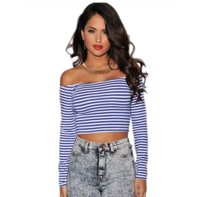 Royal-Blue White Stripes Off-the-shoulder Cropped Top