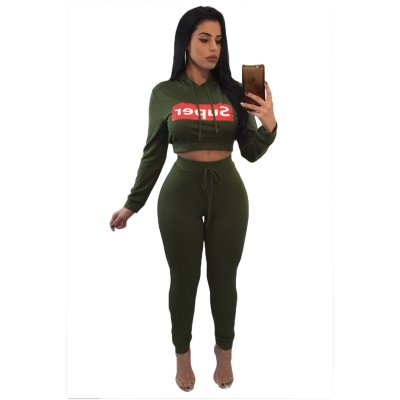 Army Green Super Hooded Crop Top Skinny Jogger Pant Set