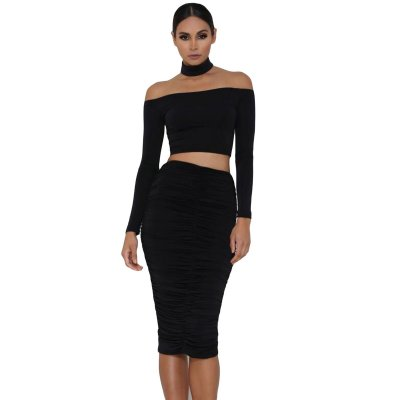 Black Sleeved Off Shoulder Choker Crop Top