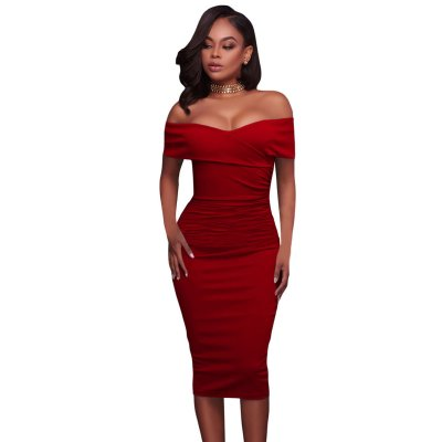 Red Ruched Off Shoulder Bodycon Midi Dress