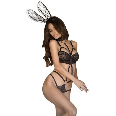 3pcs Roleplay Bunny Lace Playsuit with Collared Leash