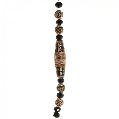 Holiday strung beads, black gold