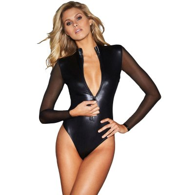 Black Mesh Long Sleeve Zip Front Leather Bodysuit
