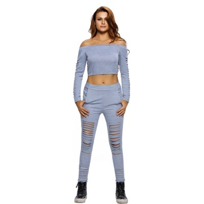 Grey Long Sleeve Crop Top Ribbed Cutout Pant Set