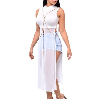White Mesh Patchwork Sleeveless High Side Split Club Top