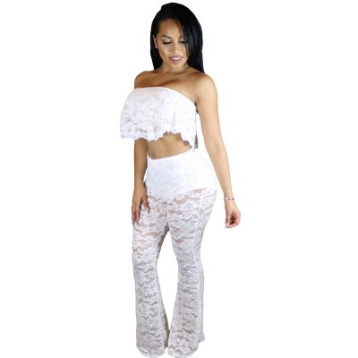 White Ruffle Lace Crop Top Wide Leg Pant Set