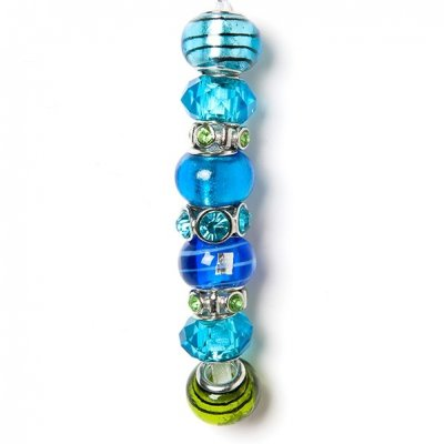 Fashion strung beads, blue and green, 9PC