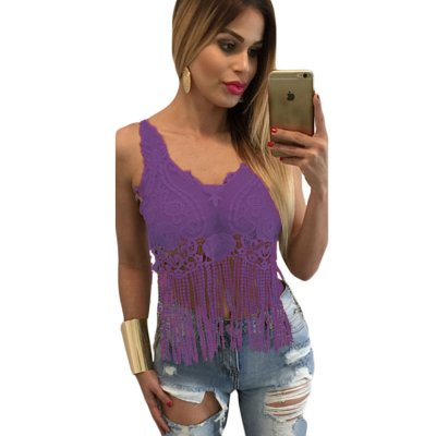 Purple Lacy Crochet Cropped Vest Top