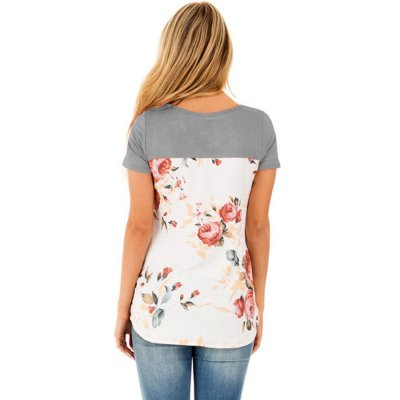 Grey Floral Print Lower Back T-shirt