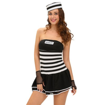 4pcs Sexy Guilty Prisoner Costume