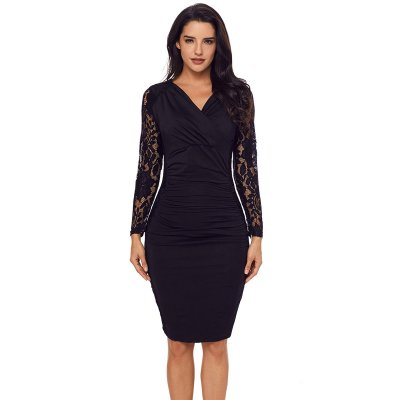 Black Floral Lace Panel Accent Ruched Sheath Dress