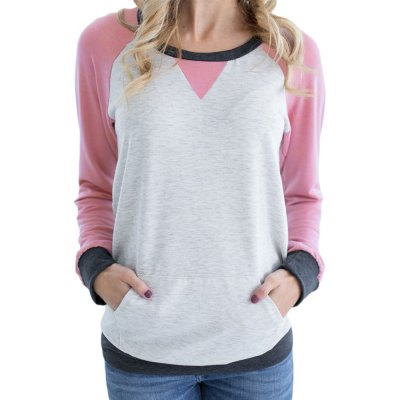 Pink Raglan Sleeve Patch Elbow Sweatshirt Top