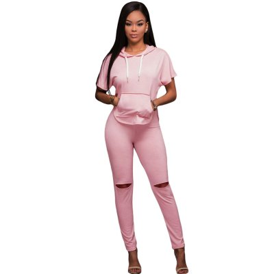 Pink Scoop Back Hooded 2pcs Pant Set