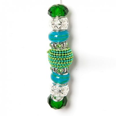 Fashion strung beads, green and blue, 9PC