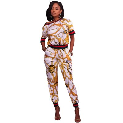 White Gold Multiple Print Two Piece Jogger Set
