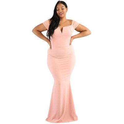 Pink Plus Size Sheer Sleeve Column Dress