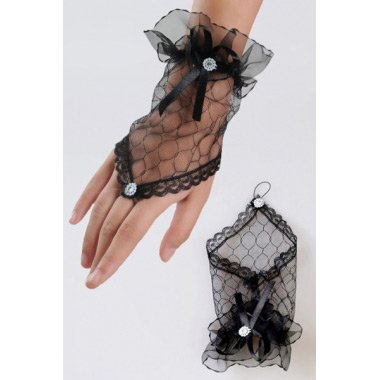 Black Transparent Fingerless Elbow Short Gloves