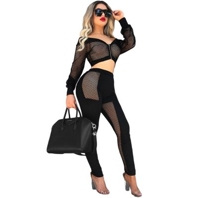 Black Off The Shoulder Mesh Pant Set