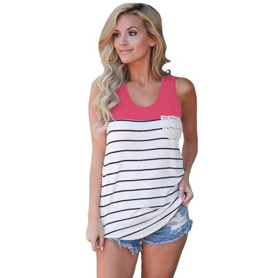 Stylish Striped Rosy Block Racerback Tank Top