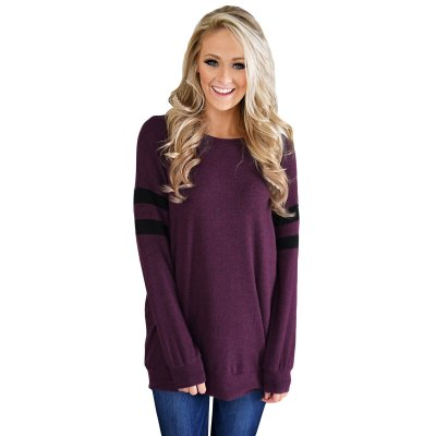 Purple Striped Sleeve Women's Sweatshirt Top