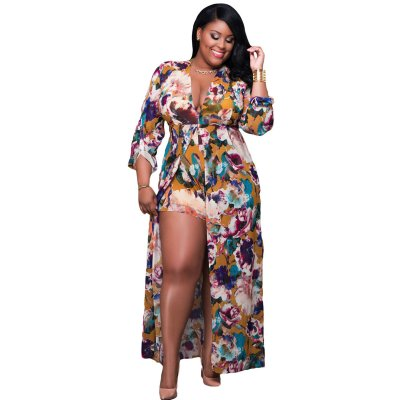 Plus Size Sleeved Floral Romper Maxi Dress