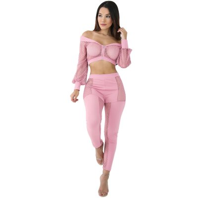 Pink Off The Shoulder Mesh Pant Set