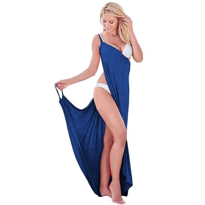 Cobalt Blue Greek Goddess Spaghetti Strap Sarong Beachwear