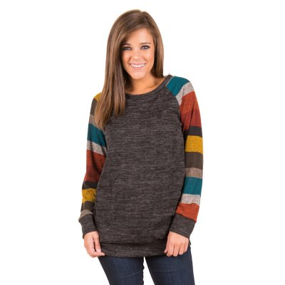 Multicolor Long Sleeve Charcoal Grey Sweatshirt
