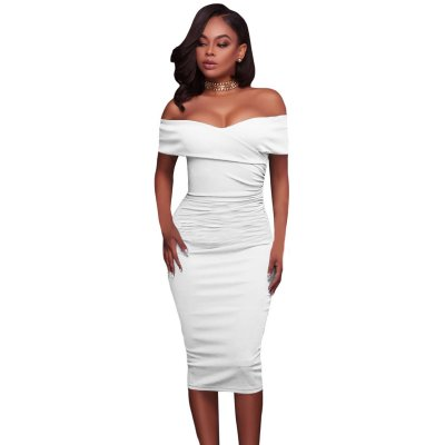 White Ruched Off Shoulder Bodycon Midi Dress