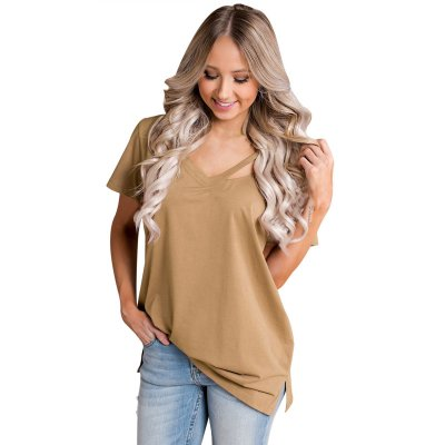 Khaki Loose Fit Basic T-Shirt