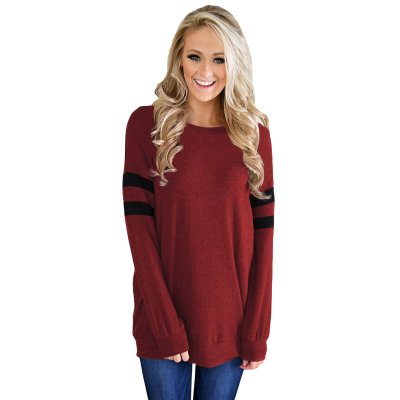 Wine Striped Sleeve Women's Sweatshirt Top