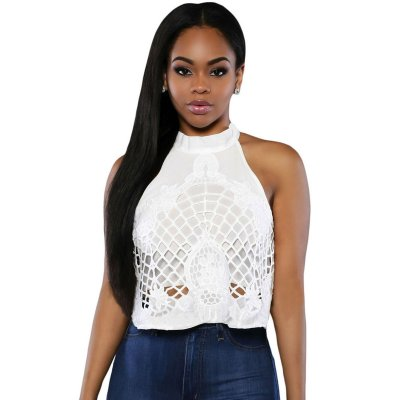 White Embroidered Luxe Crop Top