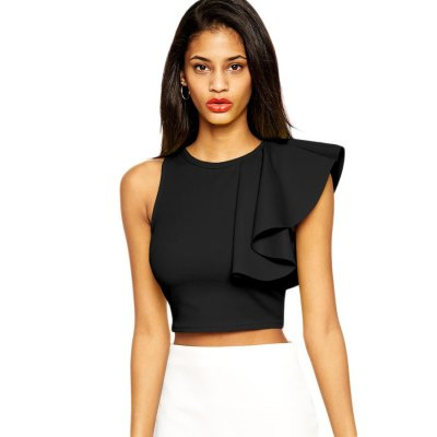 Black One-shoulder Ruffle Crop Top