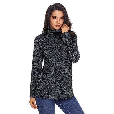 Heather Black Cozy Cowl Neck Drawstring Sweatshirt