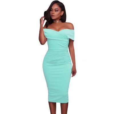 Cyan Ruched Off Shoulder Bodycon Midi Dress