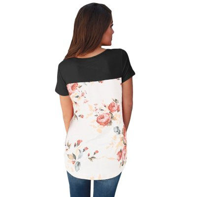 Black Floral Print Lower Back T-shirt