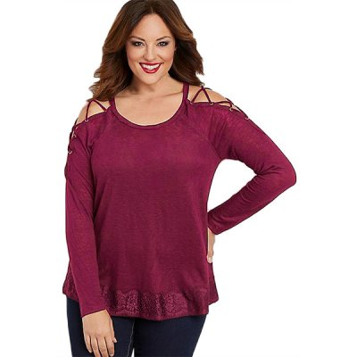 Red Lace up Sleeves Plus Size Top