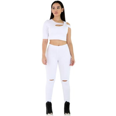 White 2pcs One Sleeve Fit Jumpsuit Set