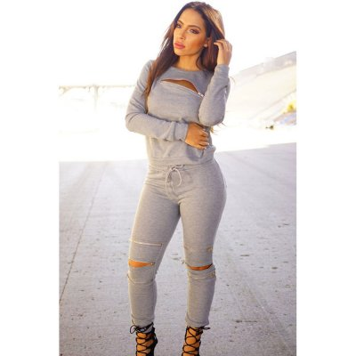 Grey Fashion Sporty Zipped Pants Set