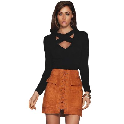 Black Cross Straps Front Long Sleeve Crop Top