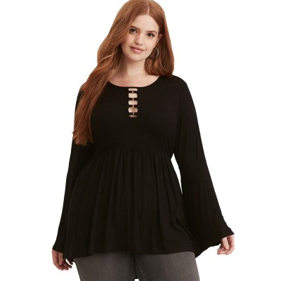 Black O-Ring Plus Size Babydoll Tunic Top