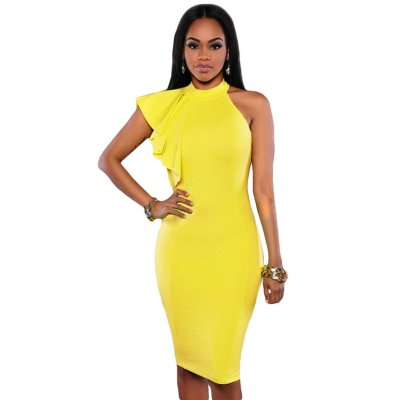 Yellow One Shoulder Ruffle Sleeve Midi Dress