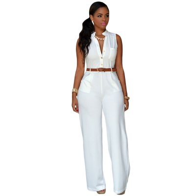 White Belted Wide Leg Jumpsuit