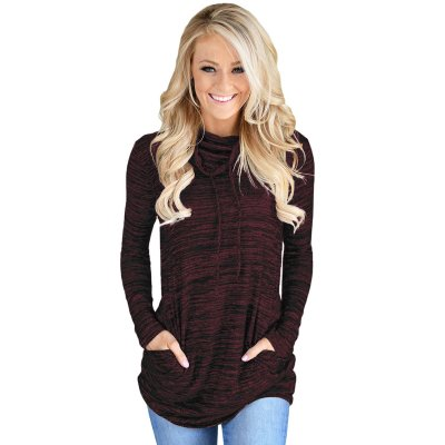 Heather Burgundy Cozy Cowl Neck Drawstring Sweatshirt