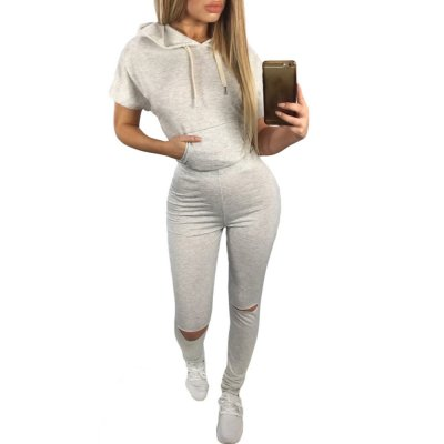 Grey Scoop Back Hooded 2pcs Pant Set