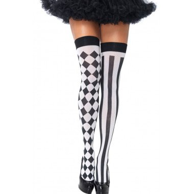 Womens Harlequin Thigh Highs