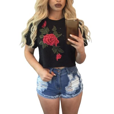 Black Embroidered Flower Broken Hole Crop Top