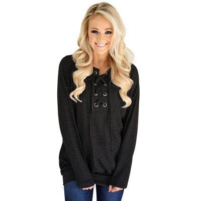 Black Women's Lace up Sweatshirt Jumper
