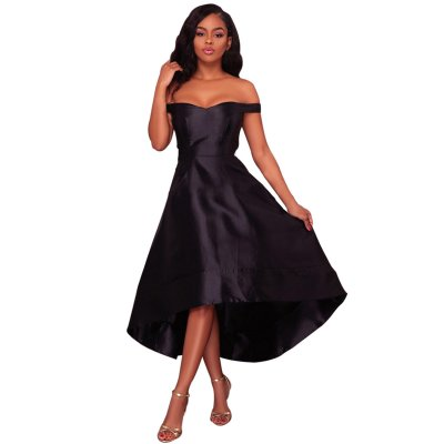 Black High-shine High-low Party Evening Dress