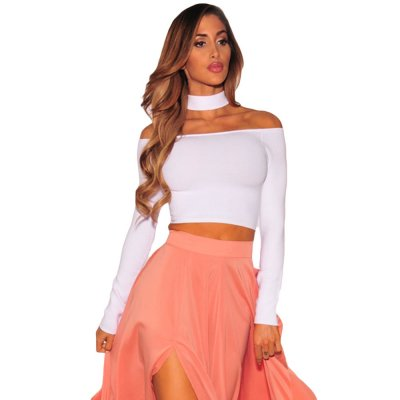 White Sleeved Off Shoulder Choker Crop Top